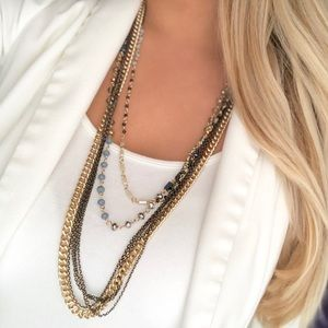 Express mixed metals layered beaded necklace